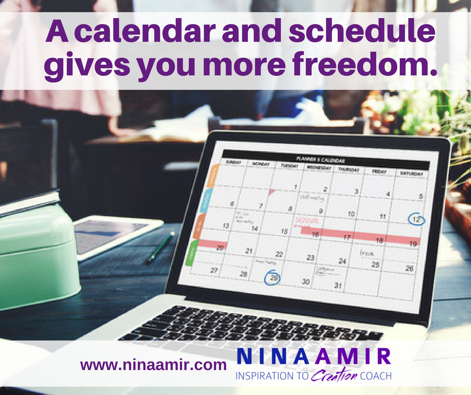 schedule your time on a calendar