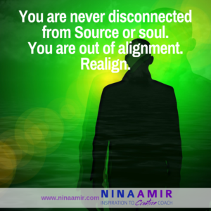 you are not disconnected from Source or soul, just misaligned. Realign to feel connected.